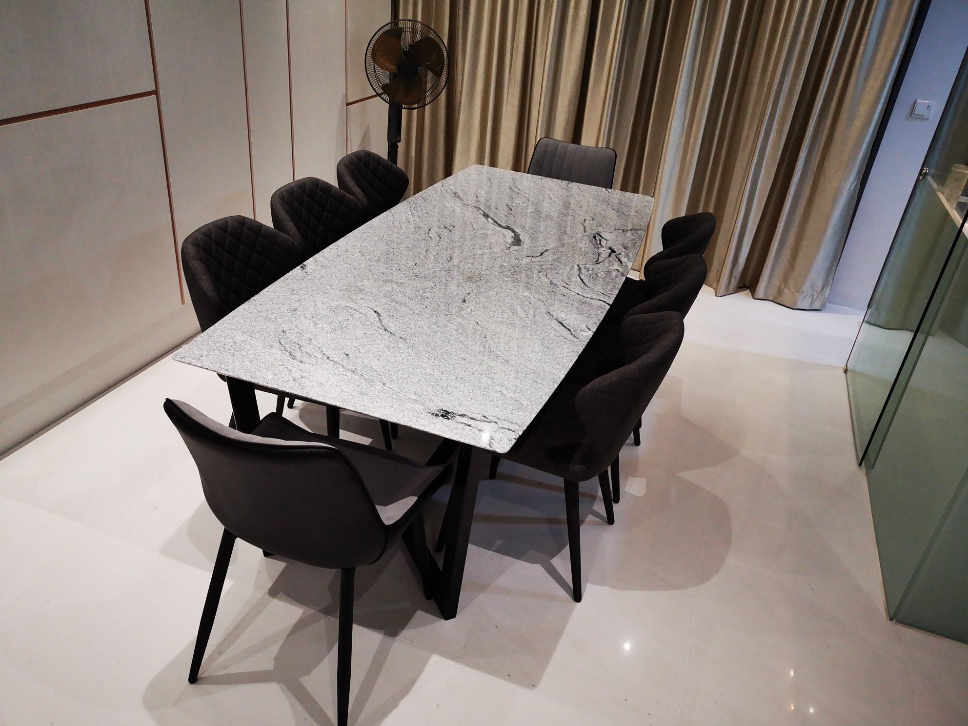 Bianca Granite Table, 2200L x 1000W, Blanco Vis, Polished, Knoll, Steel 38 x 65 (5)