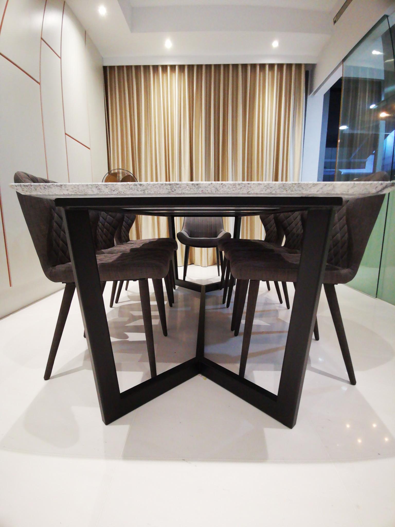 Bianca Granite Table, 2200L x 1000W, Blanco Vis, Polished, Knoll, Steel 38 x 65 (8)