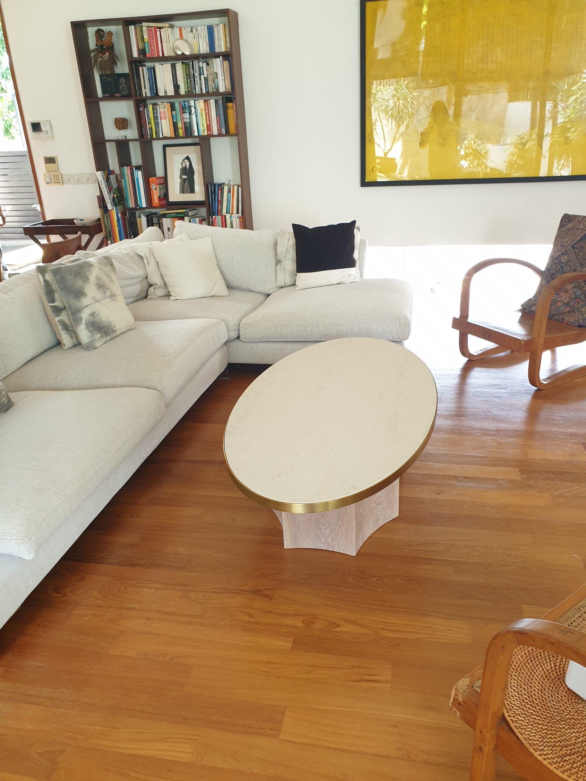 Ocho Coffee Table 1450L x 750W x 400H, Dekton, Danae, Oak, White wash, SS, Gold (2)