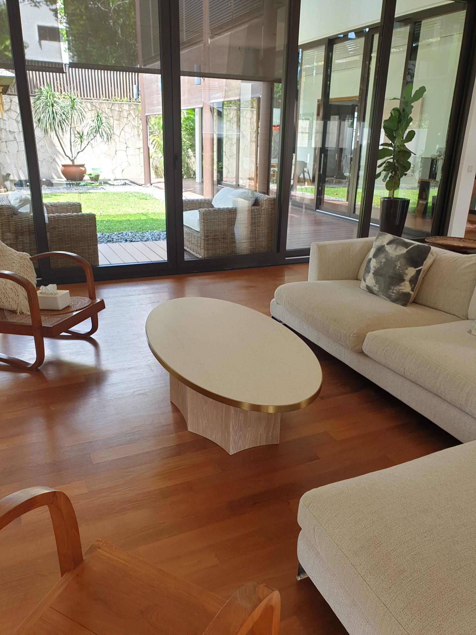 Ocho Coffee Table 1450L x 750W x 400H, Dekton, Danae, Oak, White wash, SS, Gold (3)