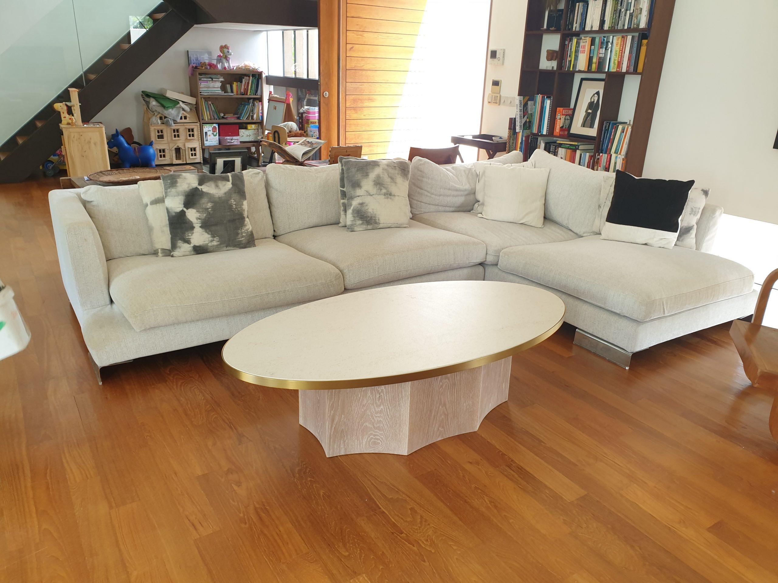 Ocho Coffee Table 1450L x 750W x 400H, Dekton, Danae, Oak, White wash, SS, Gold