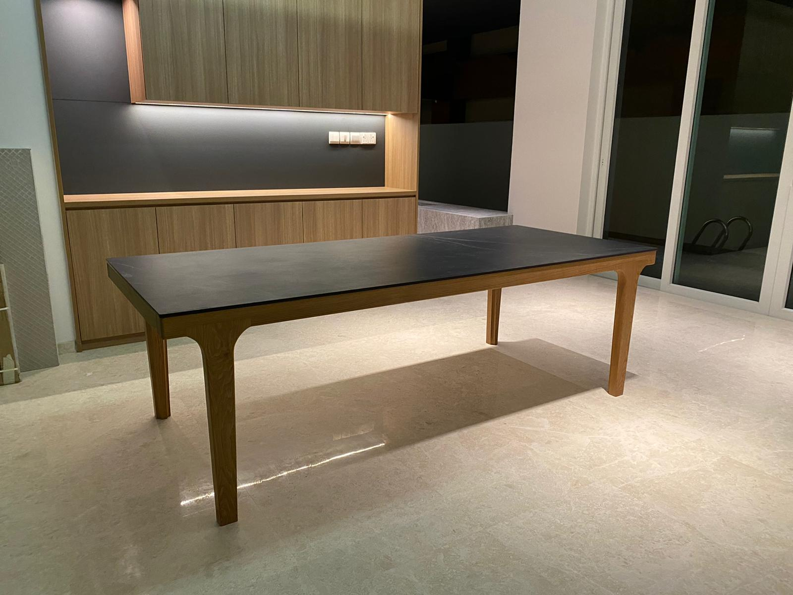customise quartz + wood dining table